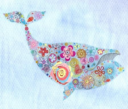 mooie bloemen decoratieve walvis op een blauwe aquarel achtergrond