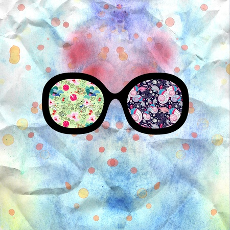 unusual interesting world through his glasses on watercolor background Stock Photo - 19376934