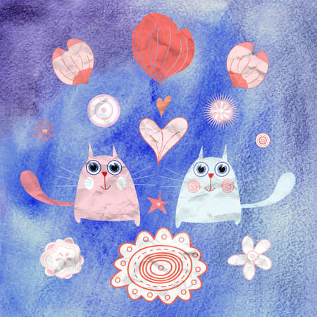 funny love cats on a blue watercolor background Stock Photo - 19376935