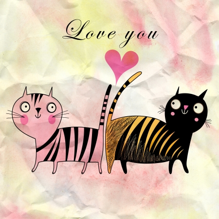 funny cats in love on watercolor background with a heart