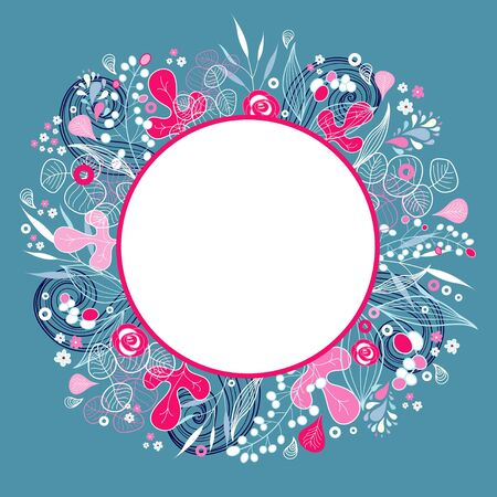 beautiful floral background with frame for text on a blue background Stock Vector - 19397906