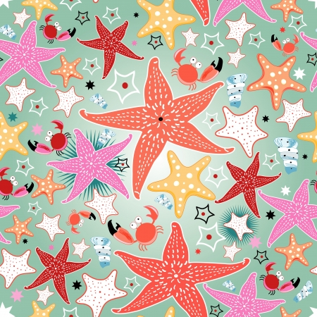seamless bright pattern of sea stars on a light green background Vettoriali