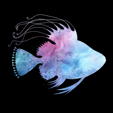 blue watercolor silhouette of fish on a black background Stock Photo - 19581003