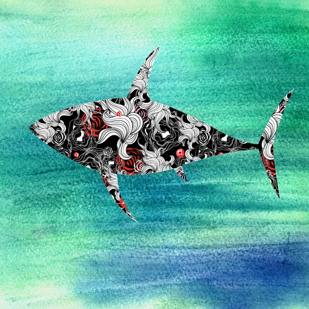 beautiful decorative silhouette of a shark on a watercolor background Stock Photo - 19581013