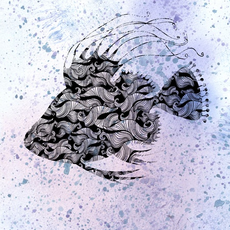 beautiful decorative silhouette of fish on watercolor background Stock Photo - 19581010
