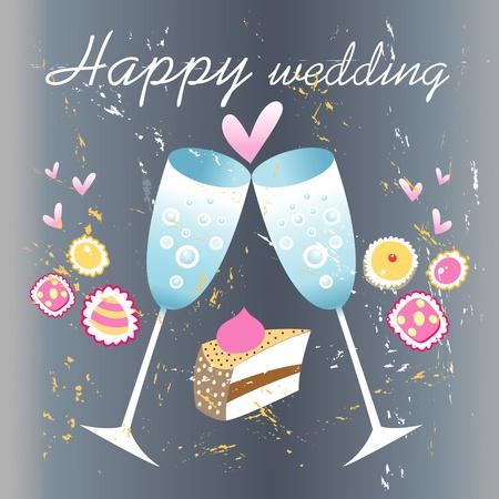 Grunge trouwkaart met glazen champagne en harten