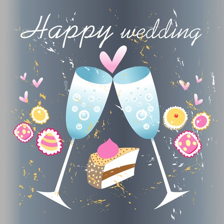 Grunge wedding card with glasses of champagne and hearts Vector