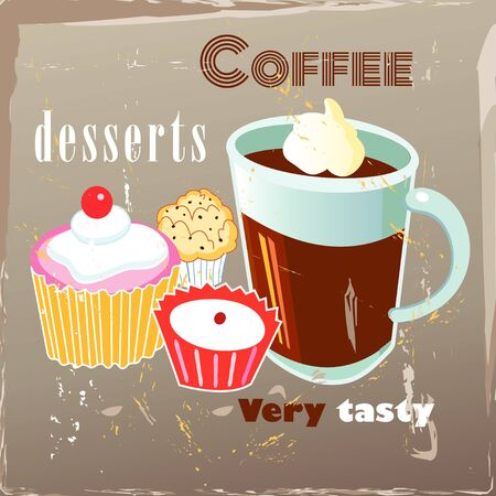 coffee berry: delicious coffee and desserts on the vintage aged background Illustration