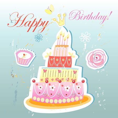 bright beautiful birthday cake on a vintage light blue background Stock Vector - 19746292