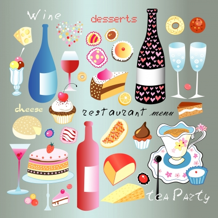 A lovely set of different food and drinks on a neutral background Vector
