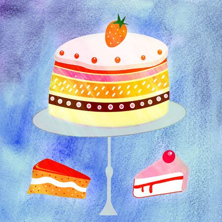 bright delicious cake and pieces of cake on a watercolor blue background Stock Photo - 19746300