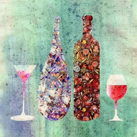 Fles wijn en wijn glazen op een vintage oude achtergrond