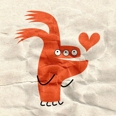 cheerful red-eared monster with a heart on the background of crumpled paper photo