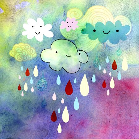 beautiful watercolor background with smiling clouds and rain Stock Photo - 19982369
