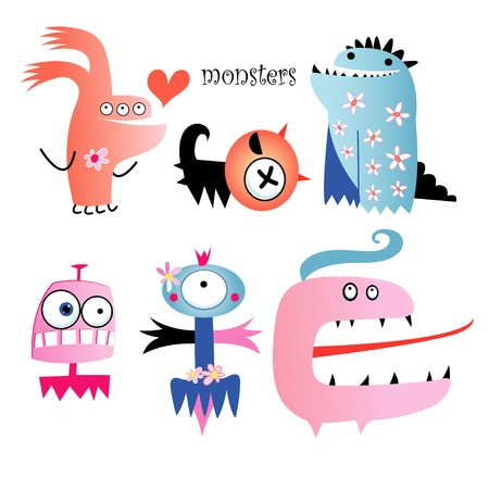funny colored monsters on a white background Vector