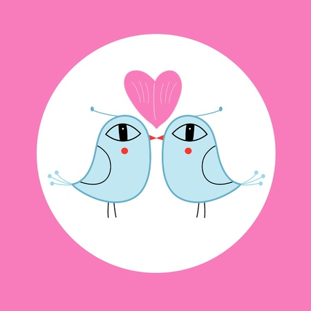 blue love birds with hearts on a pink background Vector