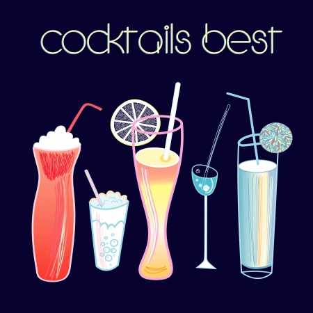 set of bright alcoholic cocktails on a dark blue background Vector