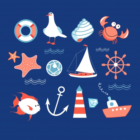 different colored icons to the wonderful marine theme Reklamní fotografie - 20245583