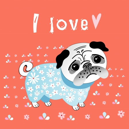 funny graphic pug lover on a red background with flowers Vector