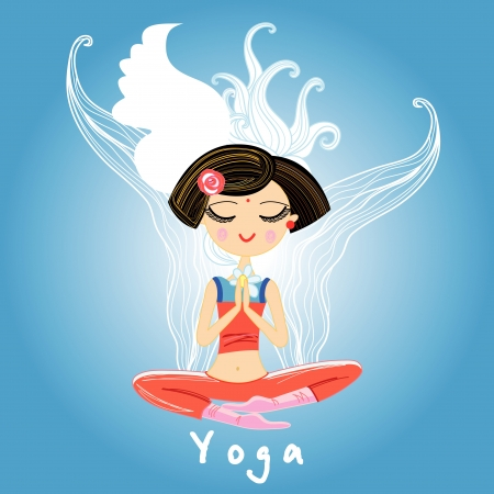 beautiful girl is engaged in yoga on blue decorative background Stock Vector - 20245585