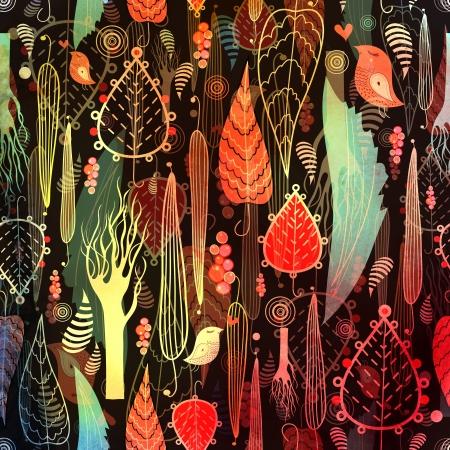 秋の紅葉と、暗い背景に木の美しいシームレスなパターン 写真素材