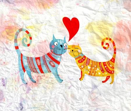 gato dibujo: diversión brillante gatos cariñosos en un fondo de la acuarela de papel arrugado