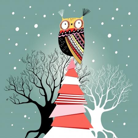 雪と緑の背景に木のフクロウとグラフィックの美しいクリスマス カード  イラスト・ベクター素材