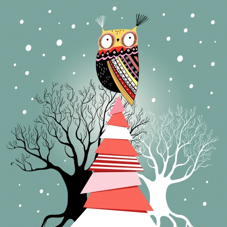 owl illustration: graphic beautiful Christmas card with an owl on the tree on a green background with snow