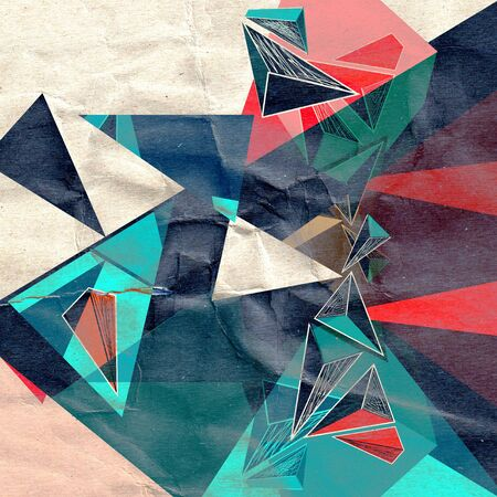 Bright unusual background with different abstract elements on a crumpled paper
