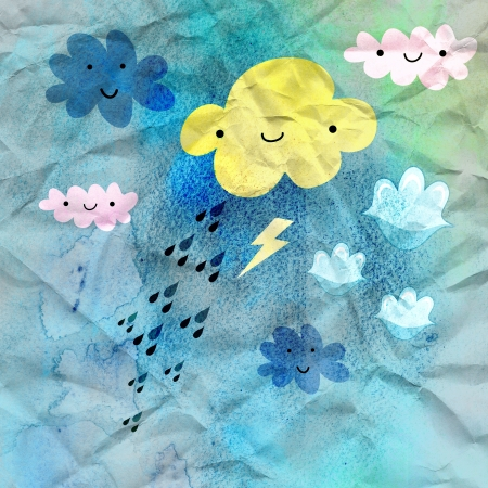funny colored clouds and rain on a blue background crumpled paper