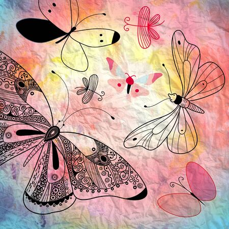 beautiful bright background with various graphical contour butterflies photo