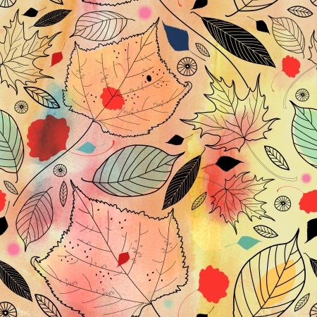 watercolor background with autumn leaves graphics Banco de Imagens - 20788701