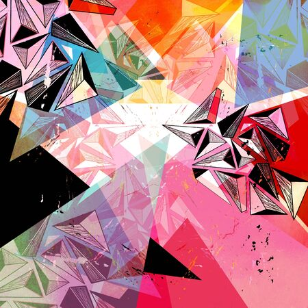 workmanship: unusual bright colorful geometric abstract pattern of different elements