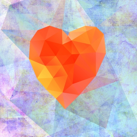 beautiful abstract heart on aged background