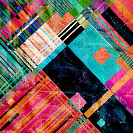 bright abstract geometric background with different elements on crumpled paper photo