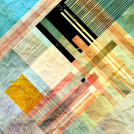 Vintage bright colorful geometric abstract pattern of different stripes photo