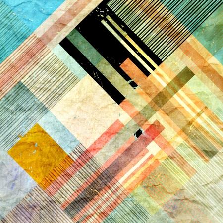 Vintage heldere kleurrijke geometrische abstracte patroon van verschillende strepen Stockfoto