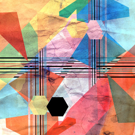 grafisch veelkleurige geometrische patroon met verschillende gekleurde elementen