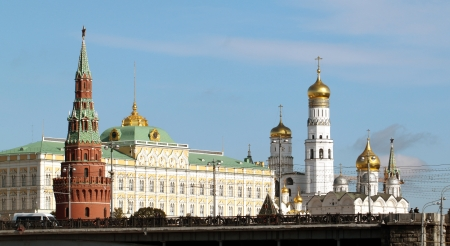 beautiful view from the Moscow Kremlin palace and bell tower photo