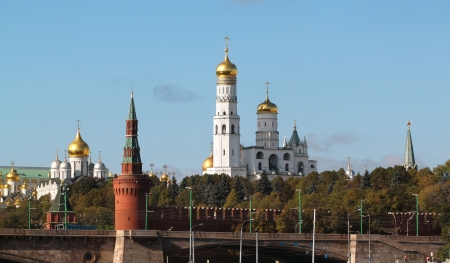 Beautiful view from the Moscow Kremlin towers and churches  View from the river photo