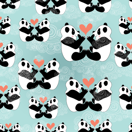 funny seamless pattern of love pandas on a blue background with clouds  Vector