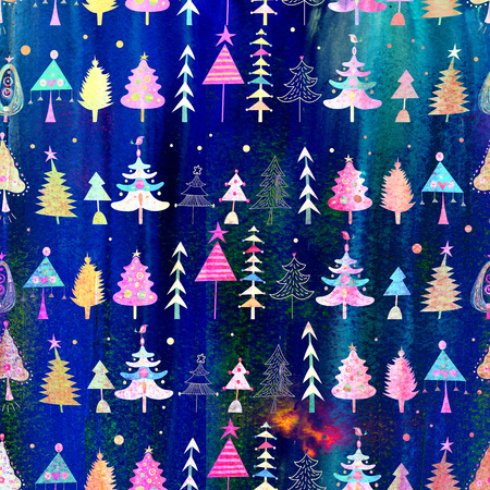 Christmas seamless bright pattern of different trees on a blue background photo
