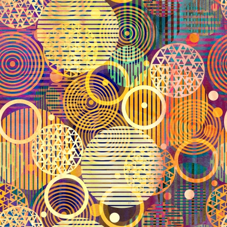 unusual bright colorful geometric abstract pattern of circles of different  Stock Photo