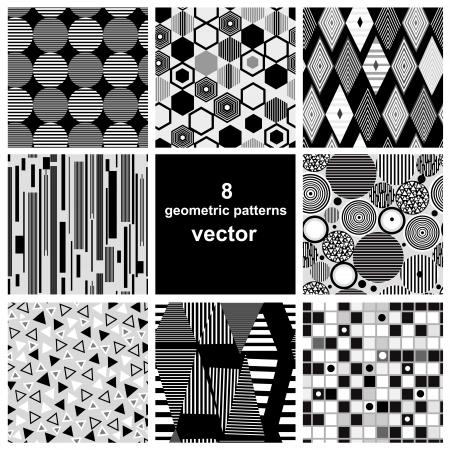 mooie set van zwarte en witte geometrische patronen