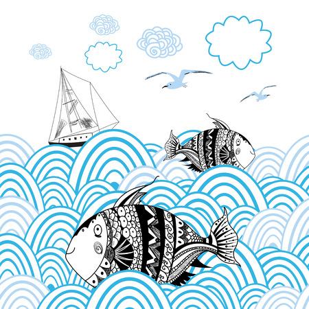 파도와 배경에 바다 물고기와 보트와 그래픽 카드