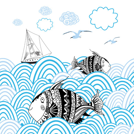 graphic card with marine fish and boat on the background with waves Stock Illustratie