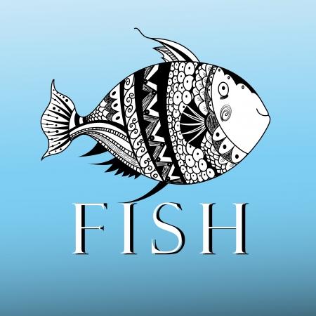 ornamental fish: grafica pesci ornamentali su sfondo blu