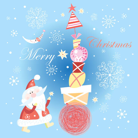 bright festive Christmas card by Santa Claus and gifts on blue background Vector