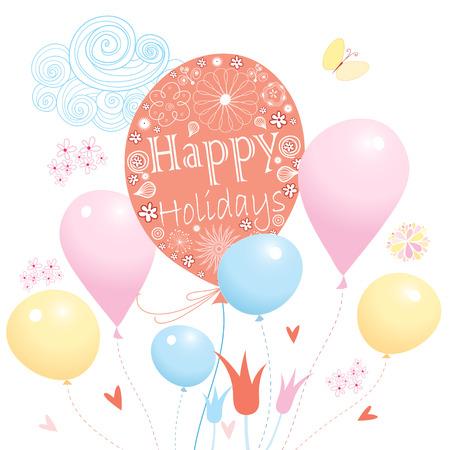 カラフルなボールが白い背景の上のお祝いカード