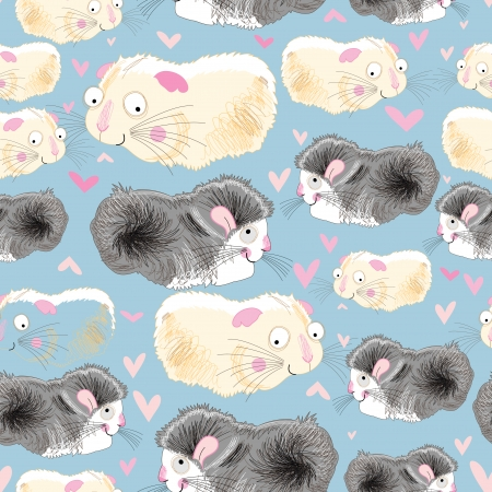 hamsters: Seamless graphic pattern of love hamsters on a blue background